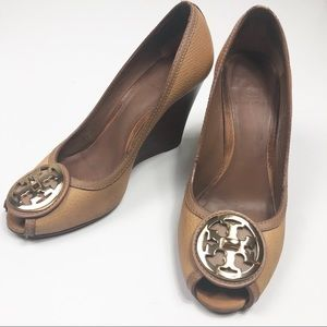 Tory Burch Selma Peep Toe Wedge